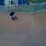 Burton's Scott carvin' it at Burton's Burlington Skatepark