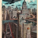 By 1925, many of New York City's skyscrapers were already present, but futurists of the time envisioned not only a great deal more but a sort of aerial civilization complete with elevated train platforms and perhaps a rather unsafe number of aircraft flying around all at once.