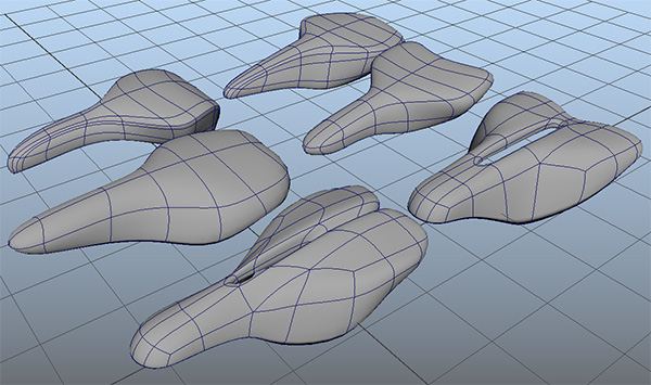Bike saddle iterations using Maya Poloygons