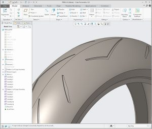 Creo Pirelli tire created with surfaces as tools