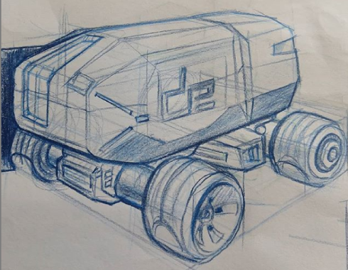 A sketch of a tank with the Design Engine logo on it